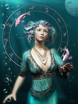 Pisces Zodiac Circle Poster by Britta Glodde