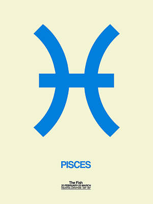 Pisces Zodiac Sign Blue Poster by Naxart Studio