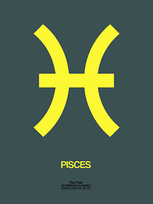 Pisces Zodiac Sign Yellow Poster by Naxart Studio