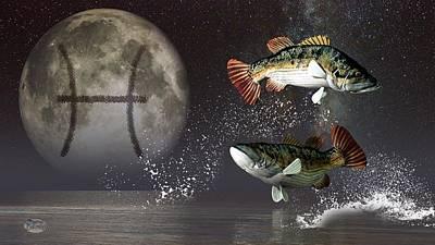 Pisces Zodiac Symbol Poster by Daniel Eskridge