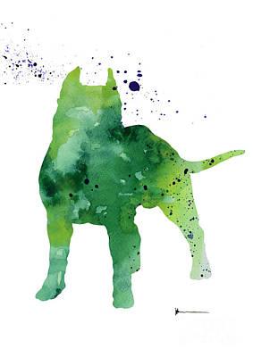 Pitbull Painting Watercolor Art Print Poster by Joanna Szmerdt