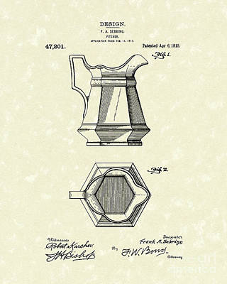 Pitcher 1915 Patent Art Poster by Prior Art Design