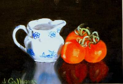 Pitcher And Tomatoes Poster by Jennifer Calhoun