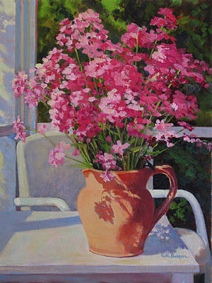 Pitcher With Phlox Poster by Keith Burgess