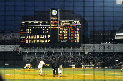 Pitching To A Hitter In Old Yankee Stadium Poster by Retro Images Archive