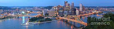 Pittsburgh Panorama At Dusk Poster by Adam Jewell
