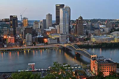 Pittsburgh Before Sunset Poster by Frozen in Time Fine Art Photography