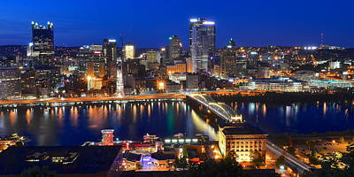 Pittsburgh Blue Hour Panorama Poster by Frozen in Time Fine Art Photography