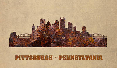 Pittsburgh City Skyline Rusty Metal Shape On Canvas Poster by Design Turnpike