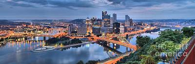 Pittsburgh Cityscape Sunrise Poster by Adam Jewell