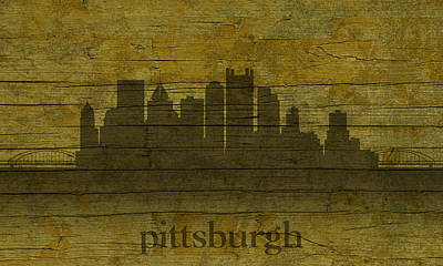 Pittsburgh Pennsylvania City Skyline Silhouette Distressed On Worn Peeling Wood Poster by Design Turnpike