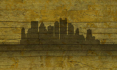 Pittsburgh Pennsylvania City Skyline Silhouette Distressed On Worn Peeling Wood No Name Version Poster by Design Turnpike