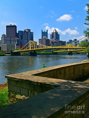 Pittsburgh Pennsylvania Skyline And Bridges As Seen From The North Shore Poster by Amy Cicconi