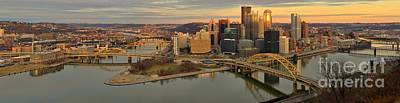 Pittsburgh Skyline Sunset Panorama Poster by Adam Jewell