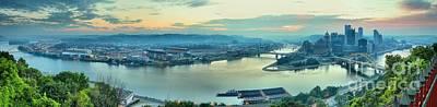 Pittsburgh Sunrise Panorama Poster by Adam Jewell