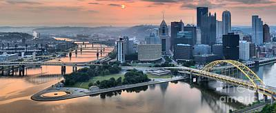 Pittsburgh Sunrise Reflections Poster by Adam Jewell