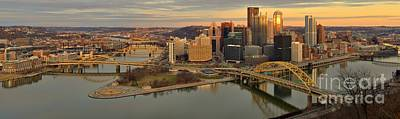 Pittsburgh Winter Sunset Panorama Poster by Adam Jewell