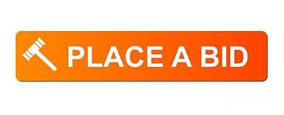 Place Bid Orange Poster