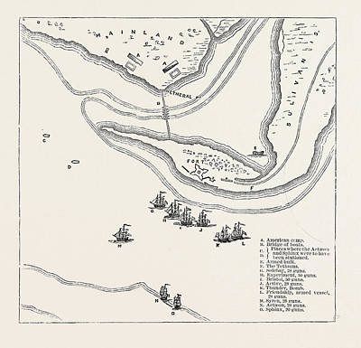 Plan Of Attack On Sullivans Island, From Fadens Atlas Poster by American School