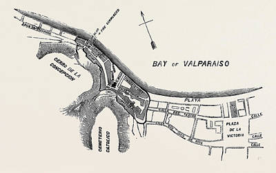 Plan Of Part Of The City Of Valparaiso Poster by English School
