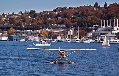Plane On Lake Union Seattle Poster