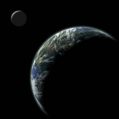 Planet With Moon No.2 Poster by Marc Ward