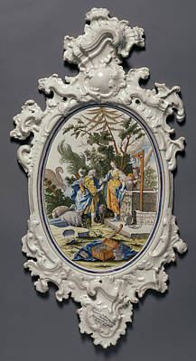 Plaque Depicting Jacob Choosing Rachel To Be His Bride Poster by Litz Collection