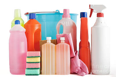 Plastic Detergent Bottles And Bucket Poster