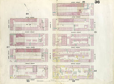 Plate 36 Map Bounded By 5th Street, Avenue Poster by Litz Collection