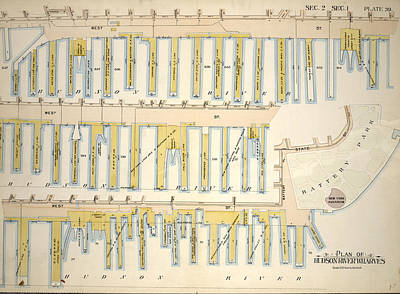 Plate 39, Sec. 2 & Sec. 1 Plan Of Hudson River Wharves Poster by Litz Collection
