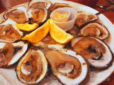 Plate Of Raw Oysters - Painterly Poster by Wingsdomain Art and Photography
