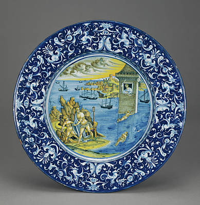 Plate With Hero And Leander Unknown Faenza Poster by Litz Collection