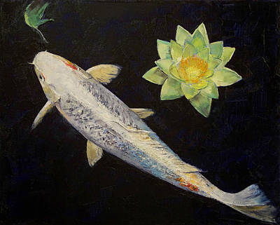 Platinum Ogon Koi Poster by Michael Creese