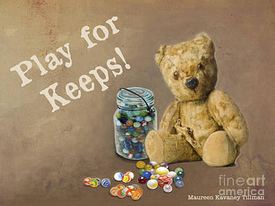 Play For Keeps - Marbles Poster by Maureen Tillman