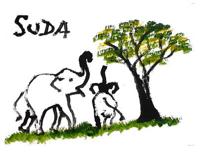 Prints - Elephant Paintings - Play Time Poster by Phongsri Smeaton