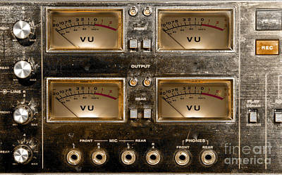 Playback Recording Vu Meters Grunge Poster