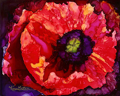 Playful Poppy Poster by Karen Mattson