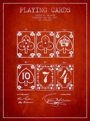 Playing Cards  Patent Drawing From 1877 - Red Poster by Aged Pixel