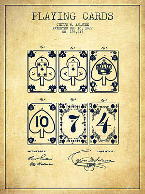 Playing Cards  Patent Drawing From 1877 - Vintage Poster by Aged Pixel