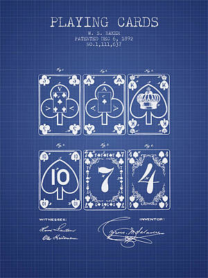 Playing Cards  Patent From 1877 - Blueprint Poster by Aged Pixel