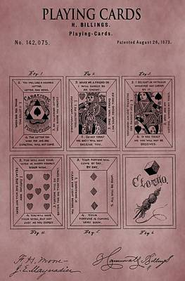 Playing Cards Patent Red Poster by Dan Sproul