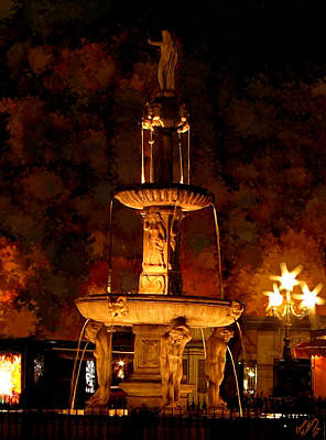 Plaza De Bib-rambla Fountain In Granada Spain Poster