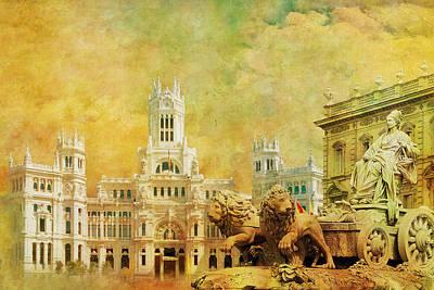 Plaza De Cibeles City Hall Madrid Poster by Catf