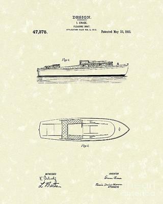 Pleasure Boat 1915 Patent Art Poster by Prior Art Design