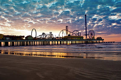 Pleasure Pier Galveston At Dawn Poster by John Collins