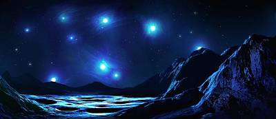 Pleiades Cluster Seen From Nearby Planet Poster by Mark Garlick