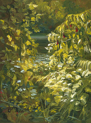 Plein Air - By The Chicopee River Poster by Lucie Bilodeau