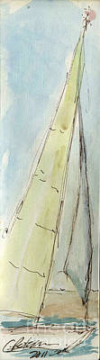 Plein Air Sketchbook. Oxnard California 2011.  In The Harbor A Sailboat Sails Full Of Wind Poster by Cathy Peterson