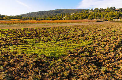 Plowed Field In Provence Poster by Alain De Maximy