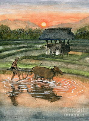 Plowing The Ricefield Poster by Melly Terpening